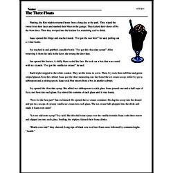 Print <i>The Three Floats</i> reading comprehension.