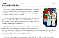 Print <i>Women's Equality Day</i> reading comprehension.