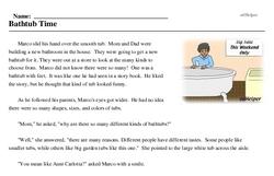 Print <i>Bathtub Time</i> reading comprehension.
