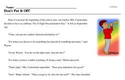 Print <i>Don't Put It Off!</i> reading comprehension.