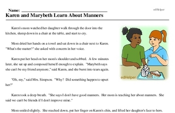 Print <i>Karen and Marybeth Learn About Manners</i> reading comprehension.