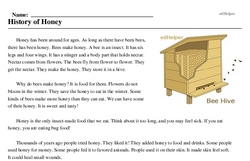 Print <i>History of Honey</i> reading comprehension.