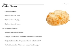 Print <i>Cindy's Biscuits</i> reading comprehension.