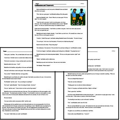 Print <i>Enthusiasm and Teamwork</i> reading comprehension.