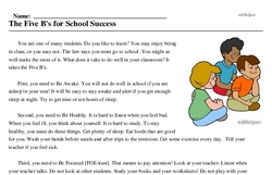 Print <i>The Five B's for School Success</i> reading comprehension.