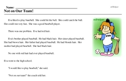 Print <i>Not on Our Team!</i> reading comprehension.