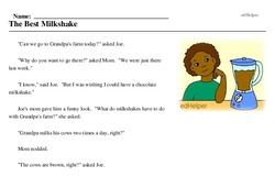 Print <i>The Best Milkshake</i> reading comprehension.