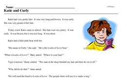 Print <i>Katie and Curly</i> reading comprehension.