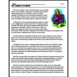 Print <i>The Attitude of Gratitude</i> reading comprehension.