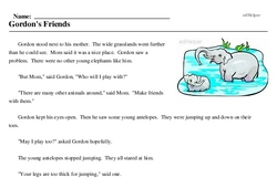 Print <i>Gordon's Friends</i> reading comprehension.