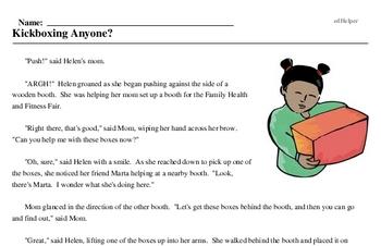 Print <i>Kickboxing Anyone?</i> reading comprehension.