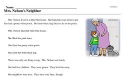 Print <i>Mrs. Nelson's Neighbor</i> reading comprehension.