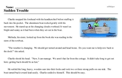 Print <i>Sudden Trouble</i> reading comprehension.