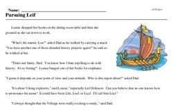 Print <i>Pursuing Leif</i> reading comprehension.