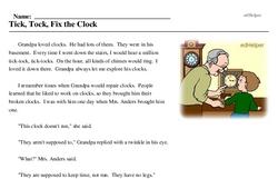 Print <i>Tick, Tock, Fix the Clock</i> reading comprehension.