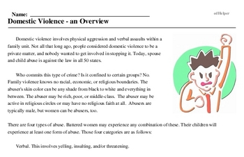 Print <i>Domestic Violence - an Overview</i> reading comprehension.