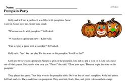 Print <i>Pumpkin Party</i> reading comprehension.