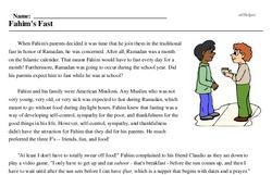 Print <i>Fahim's Fast</i> reading comprehension.