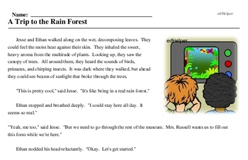 Print <i>A Trip to the Rain Forest</i> reading comprehension.