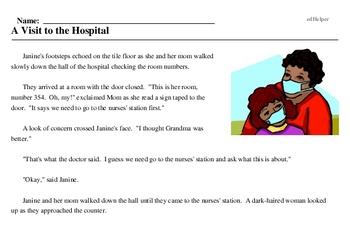 Print <i>A Visit to the Hospital</i> reading comprehension.