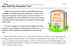 Plan Your Epitaph Day<BR>How Will They Remember You?