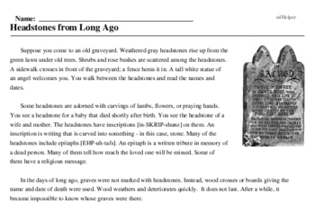 Plan Your Epitaph Day<BR>Headstones from Long Ago