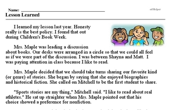Children's Book Week<BR>Lesson Learned