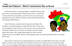 November 20<BR>Zumbi dos Palmares - Black Consciousness Day in Brazil