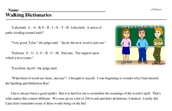 Print <i>Walking Dictionaries</i> reading comprehension.