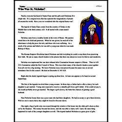 Print <i>Who Was St. Nicholas?</i> reading comprehension.