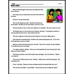 Print <i>Horse Sense</i> reading comprehension.