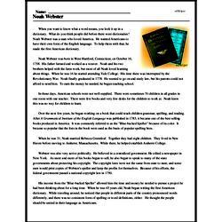Print <i>Noah Webster</i> reading comprehension.