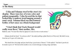 Print <i>A Tie Story</i> reading comprehension.