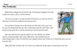 Print <i>The Fruitcake</i> reading comprehension.