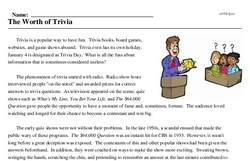 Print <i>The Worth of Trivia</i> reading comprehension.