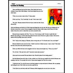 Print <i>Lessons in Skating</i> reading comprehension.