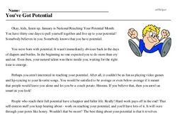 National Reaching Your Potential Month<BR>You've Got Potential