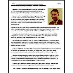 Print <i>National Hero's Day in Congo - Patrice Lumumba</i> reading comprehension.