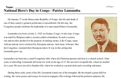Congo<BR>National Hero's Day in Congo - Patrice Lumumba