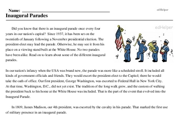 Inauguration Day<BR>Inaugural Parades