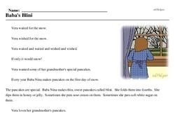 Print <i>Baba's Blini</i> reading comprehension.