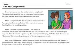 Print <i>With My Compliments!</i> reading comprehension.