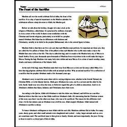 Print <i>The Feast of the Sacrifice</i> reading comprehension.