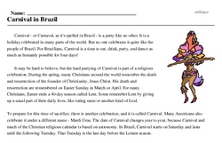 Print <i>Carnival in Brazil</i> reading comprehension.