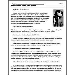 Print <i>Sinclair Lewis, Nobel Prize Winner</i> reading comprehension.