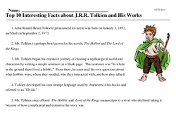 Print <i>Top 10 Interesting Facts about J.R.R. Tolkien and His Works</i> reading comprehension.