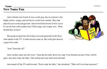 Print <i>New Name Fun</i> reading comprehension.