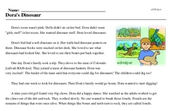 Print <i>Dora's Dinosaur</i> reading comprehension.