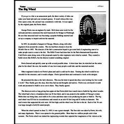 Print <i>The Big Wheel</i> reading comprehension.