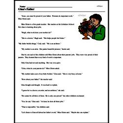 Print <i>Gina's Father</i> reading comprehension.